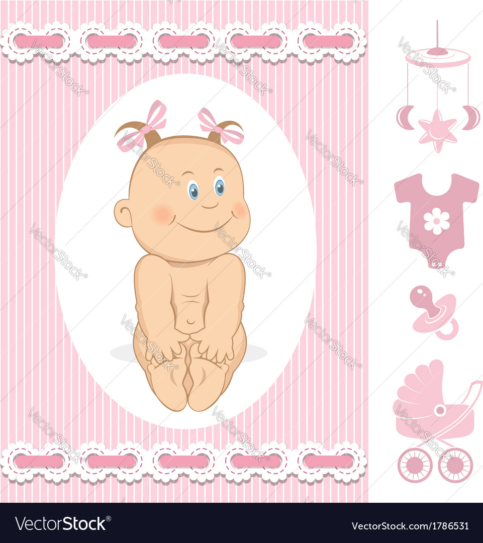 Cute baby girl vector | Price:  Credit (USD $)