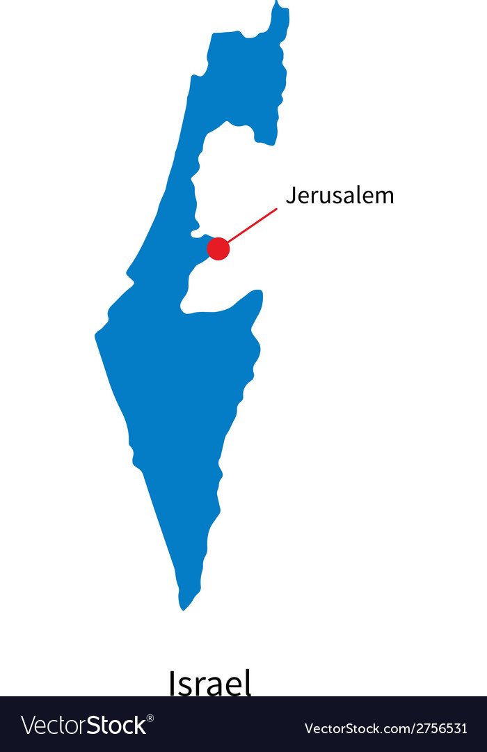 Detailed map of israel and capital city jerusalem vector | Price: 1 Credit (USD $1)