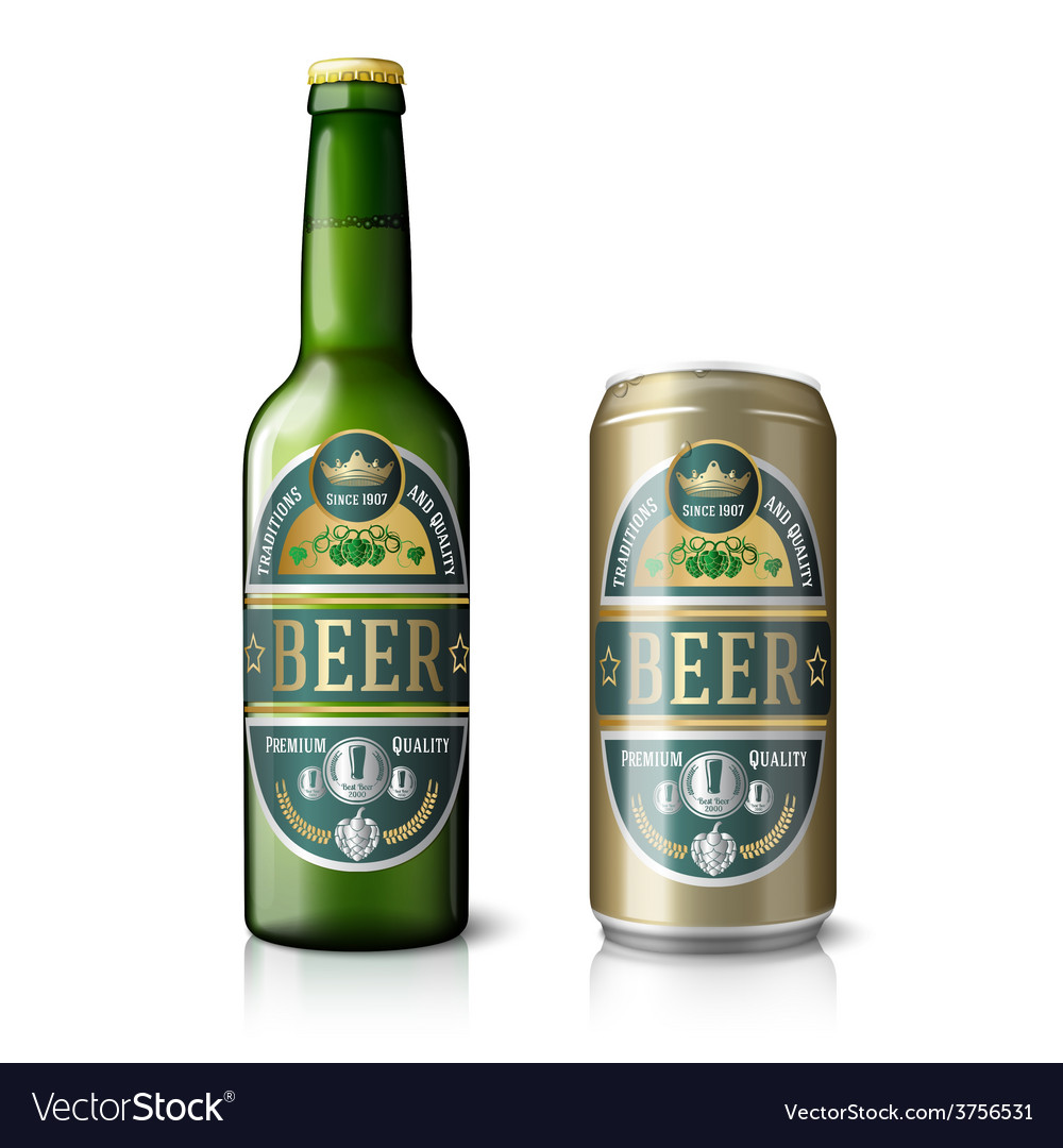 Green beer bottle and golden can with labels vector | Price: 3 Credit (USD $3)