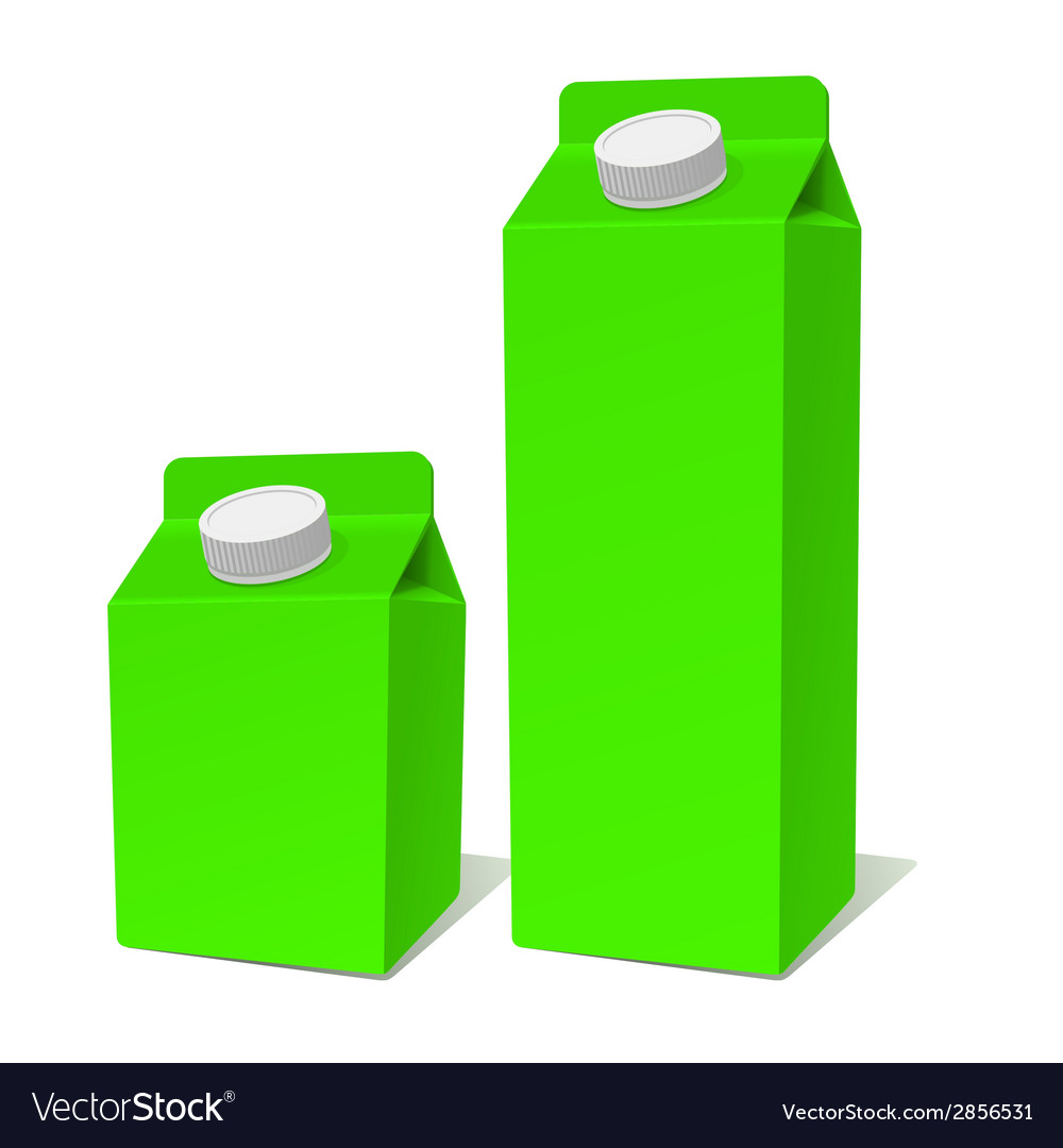 Green paper milk product tetra pack container set vector | Price: 1 Credit (USD $1)