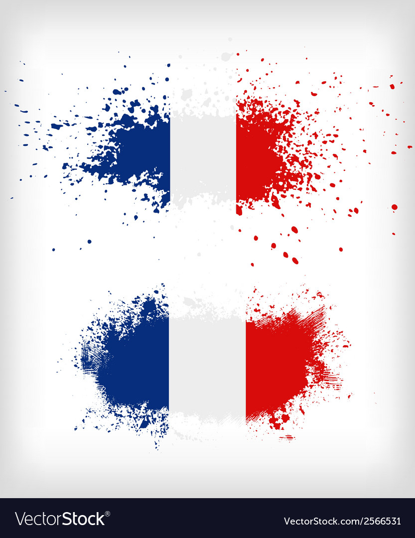 Grunge french ink splattered flag vector | Price: 1 Credit (USD $1)