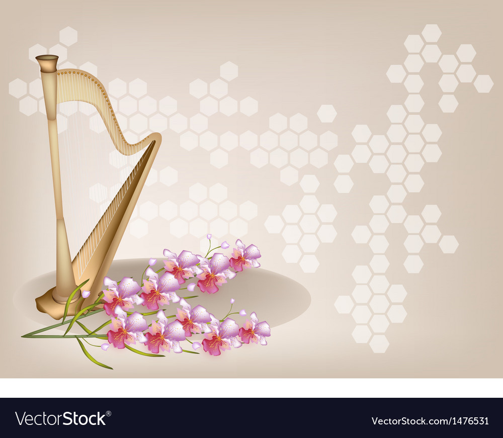 Harp orchid brown background vector | Price: 1 Credit (USD $1)