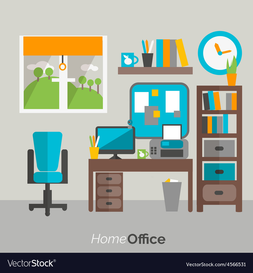Home office furniture icon poster vector | Price: 1 Credit (USD $1)