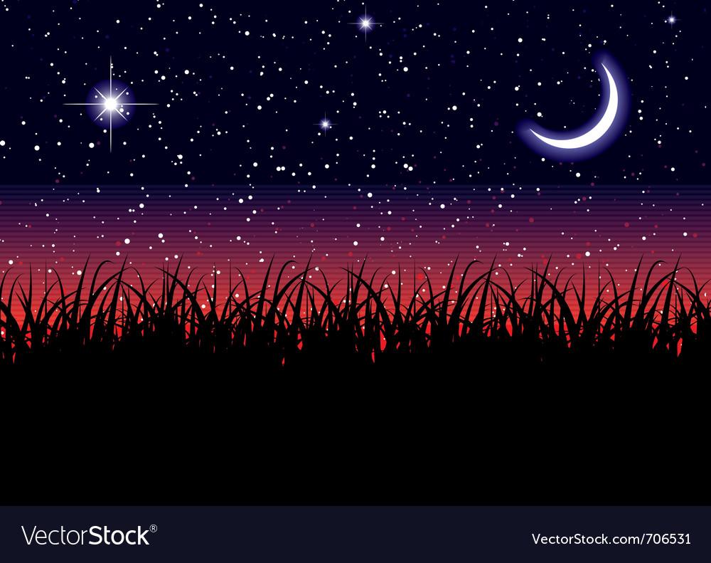 Midnight landscape vector | Price: 1 Credit (USD $1)