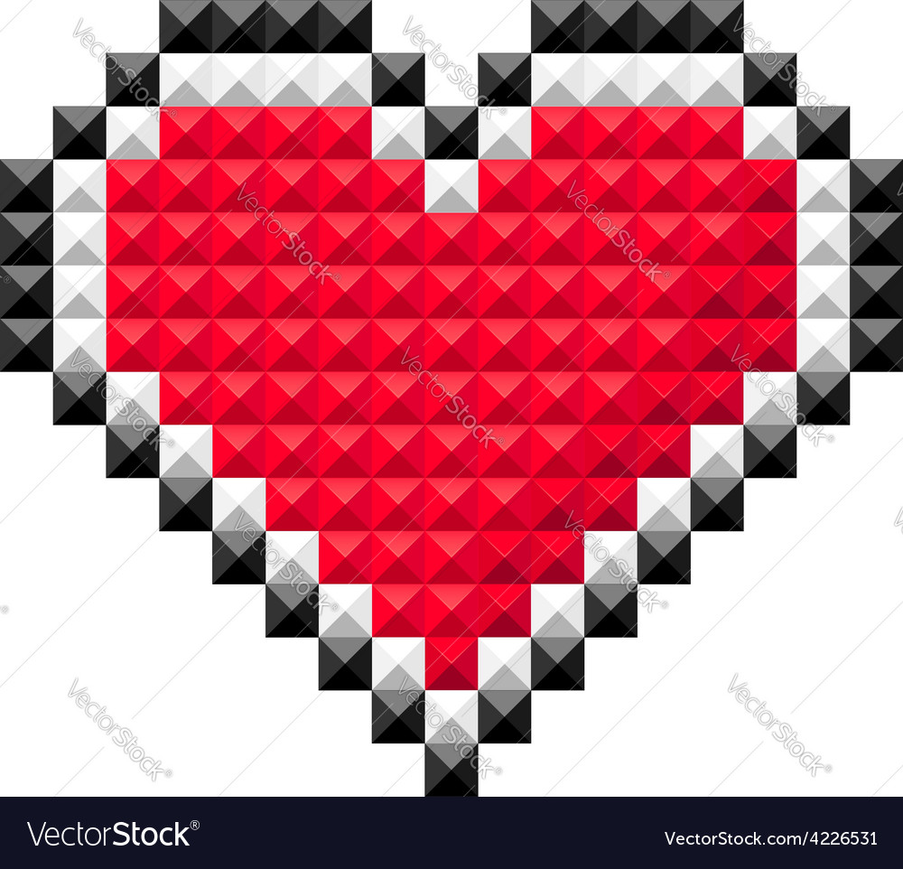 Pixel heart red vector | Price: 1 Credit (USD $1)