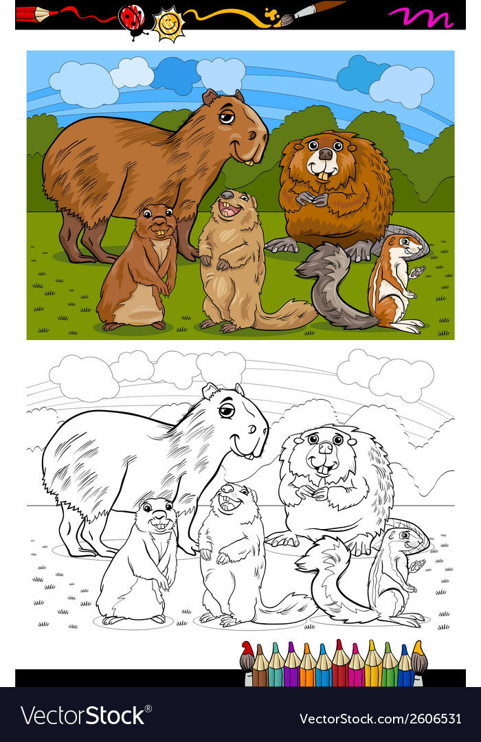 Rodents animals cartoon coloring book vector | Price: 1 Credit (USD $1)