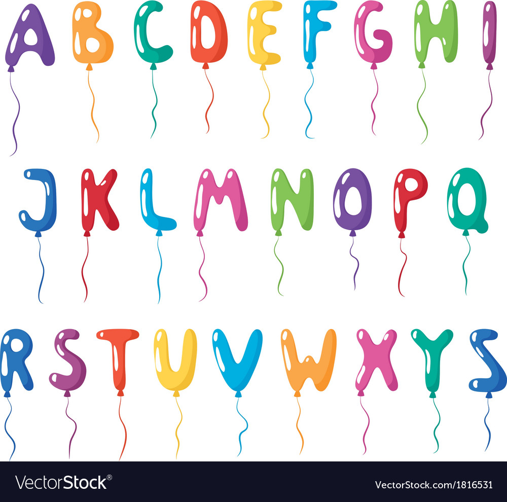 Set of alphabet balloons vector | Price: 1 Credit (USD $1)