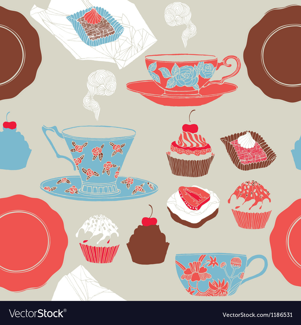 Tea and cupcakes seamless pattern vector | Price: 1 Credit (USD $1)