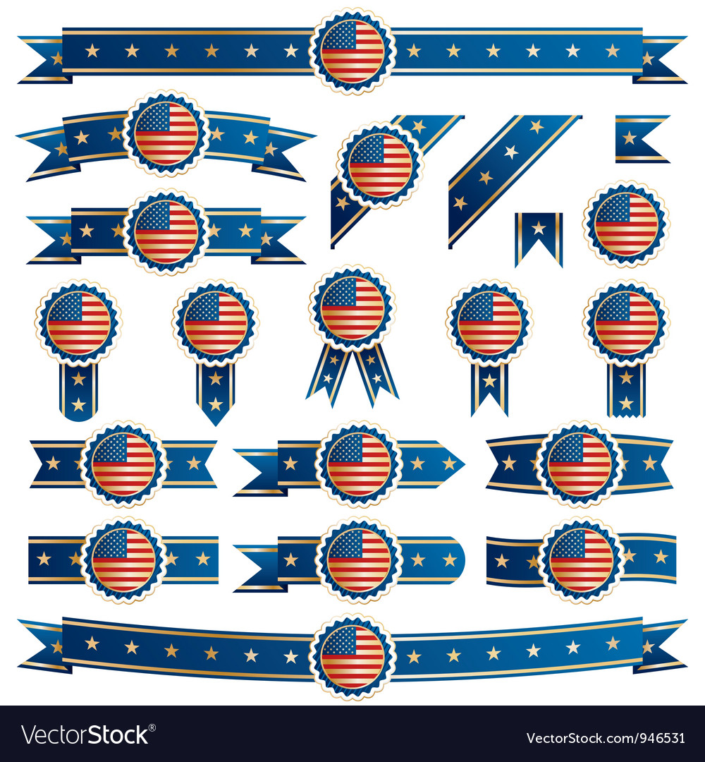 Usa ribbons vector | Price: 1 Credit (USD $1)