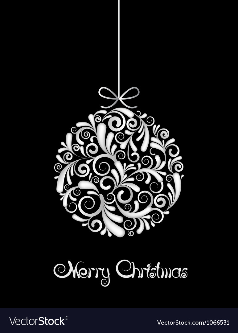White christmas ball on black background vector | Price: 1 Credit (USD $1)