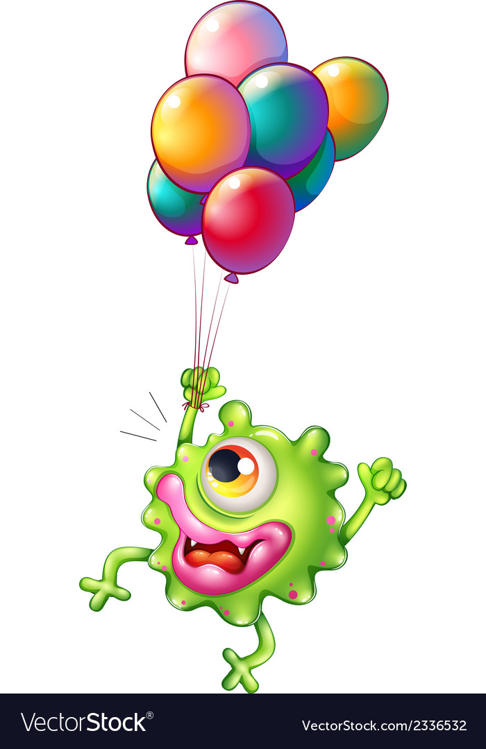 A monster with colourful balloons vector | Price: 1 Credit (USD $1)