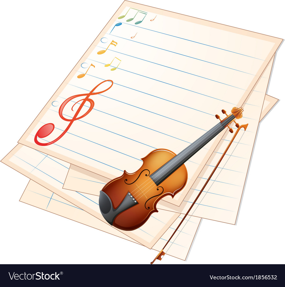 An empty paper with a violin and musical notes vector | Price: 1 Credit (USD $1)