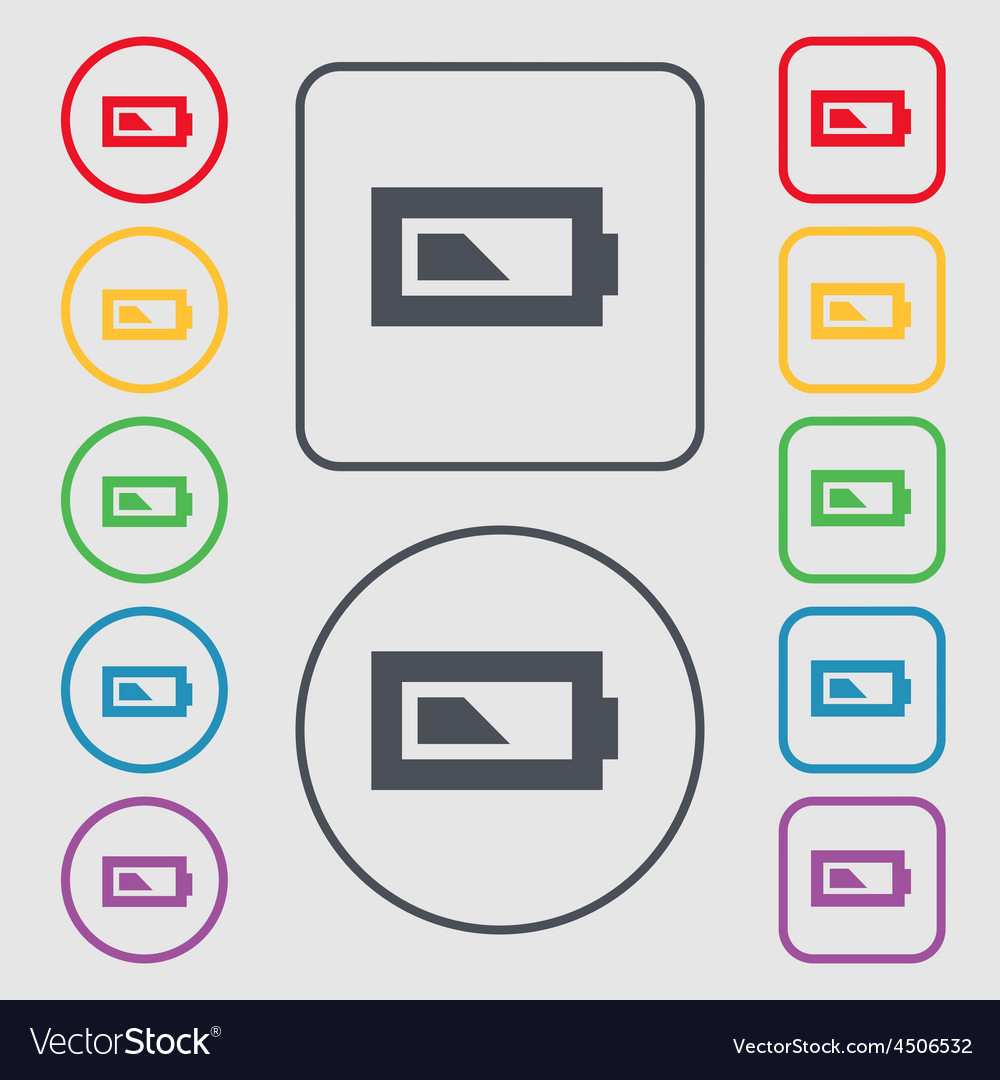 Battery half level icon sign symbol on the round vector | Price: 1 Credit (USD $1)
