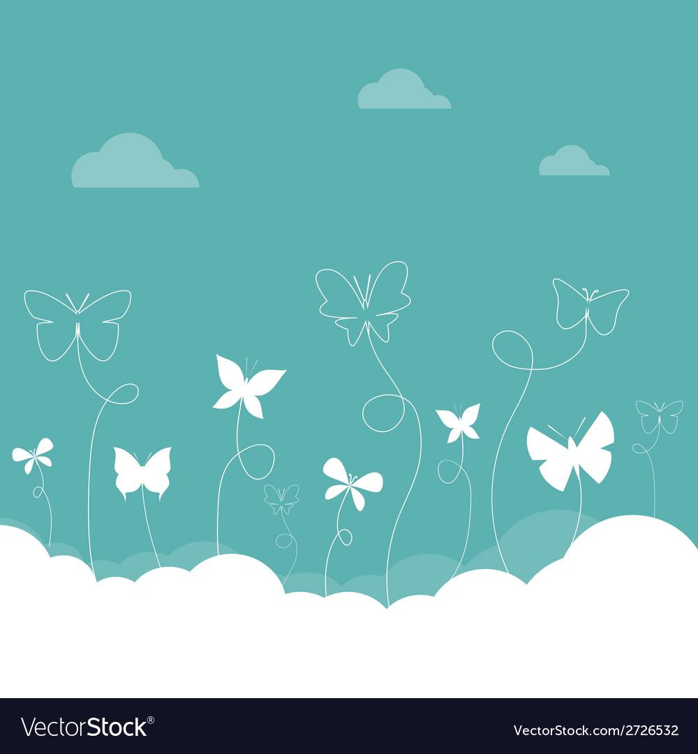 Butterflies sky vector | Price: 1 Credit (USD $1)