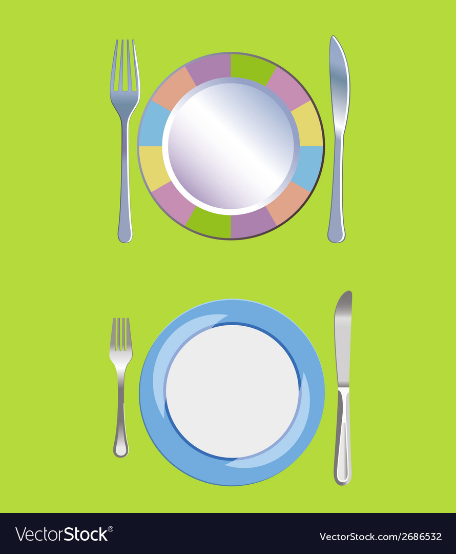 Empty plate with spoon knife and fork vector | Price: 1 Credit (USD $1)