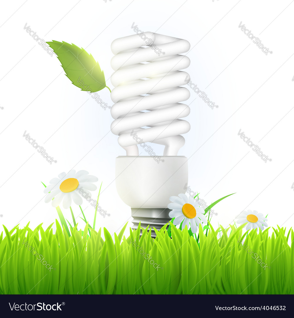 Energy saving lamp with green leaf and flowers vector | Price: 1 Credit (USD $1)