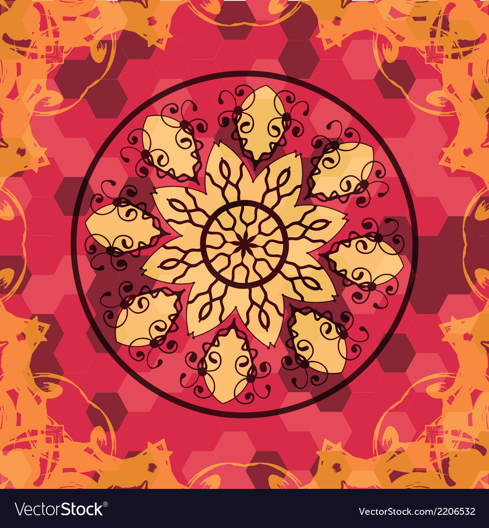 Mandala like lace in red colors vector | Price: 1 Credit (USD $1)