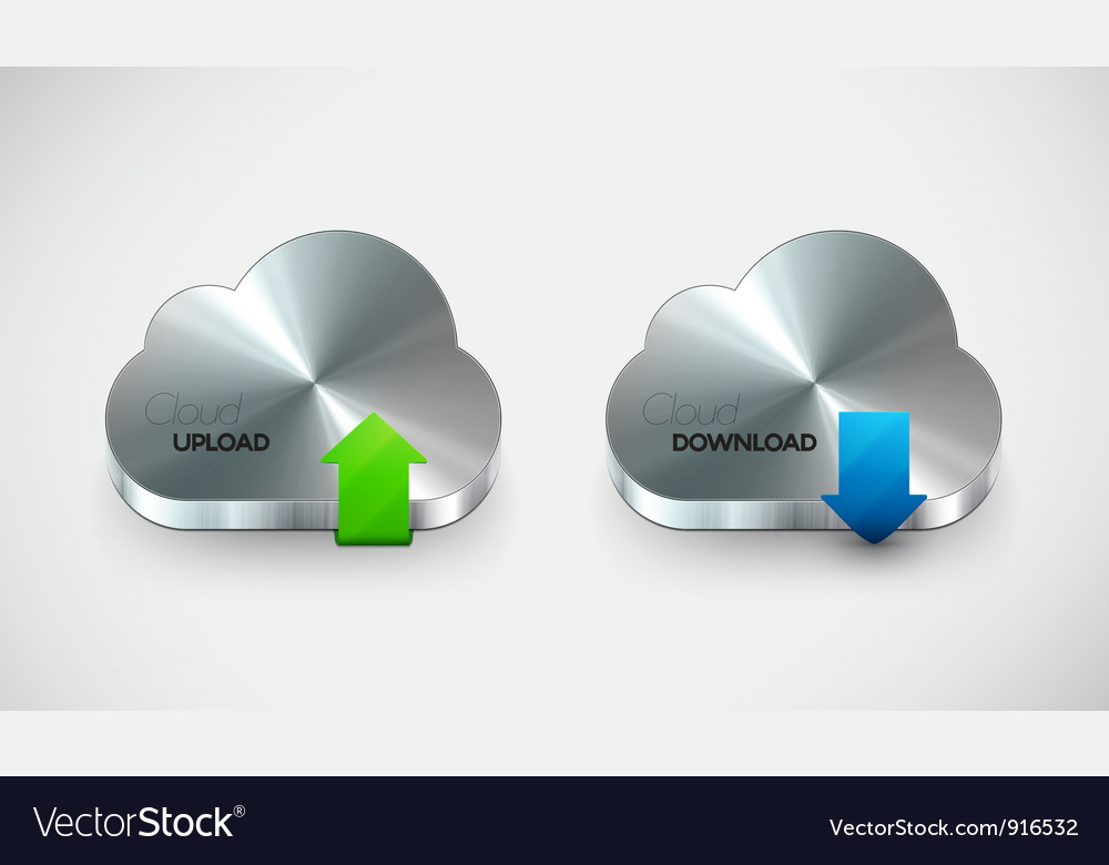 Metal cloud icon set vector | Price: 1 Credit (USD $1)