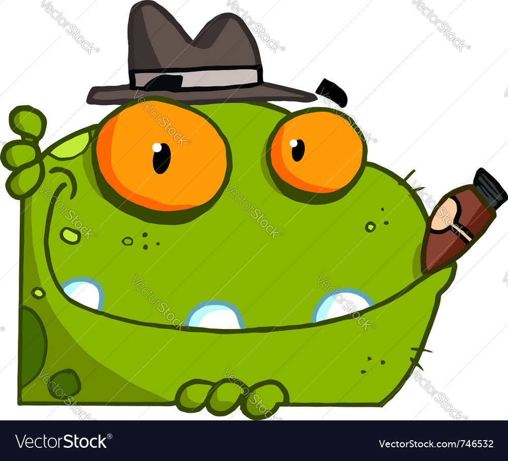 Mobster frog with a hat and cigar vector | Price: 1 Credit (USD $1)