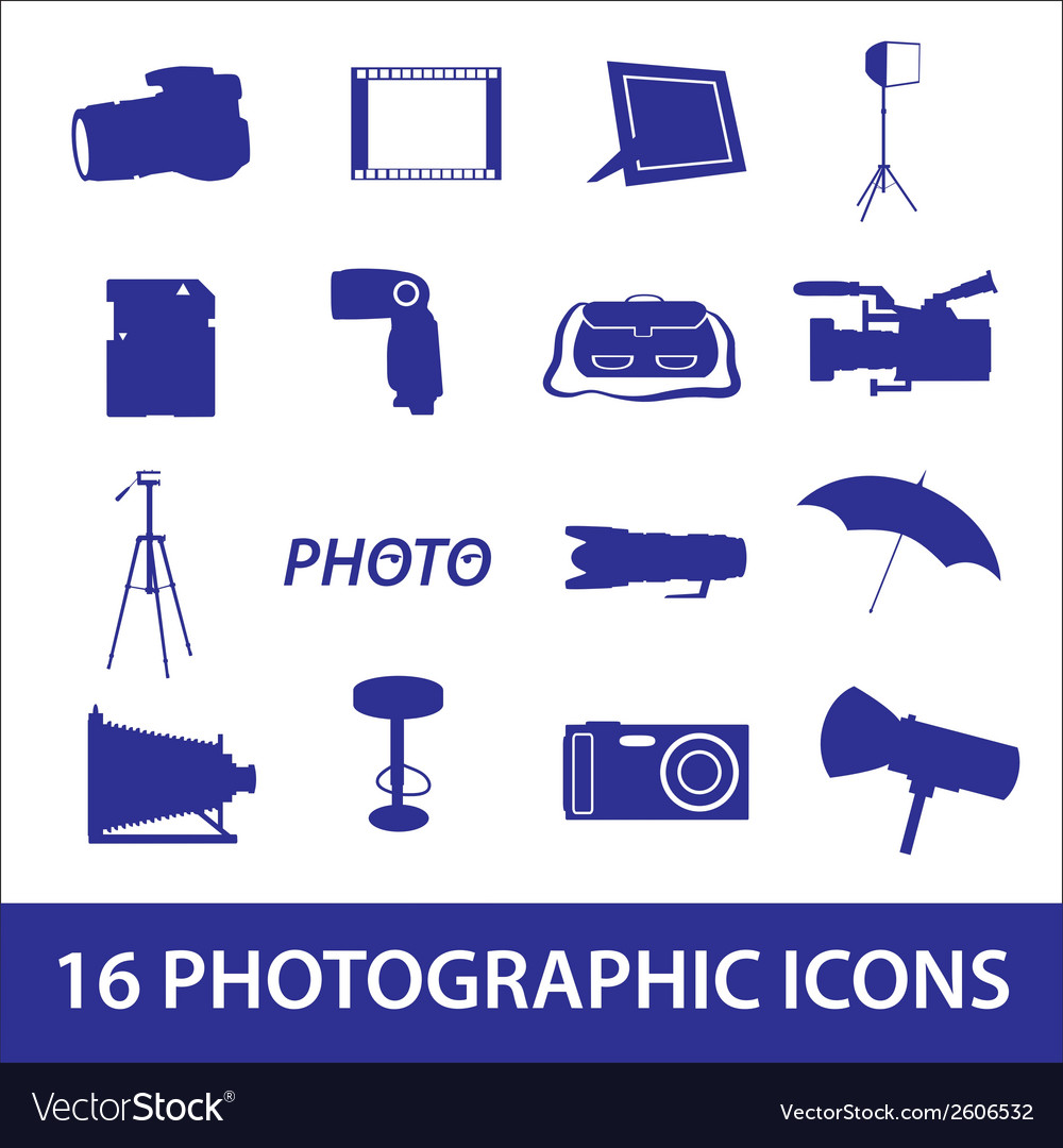 Photographic icon set eps10 vector | Price: 1 Credit (USD $1)