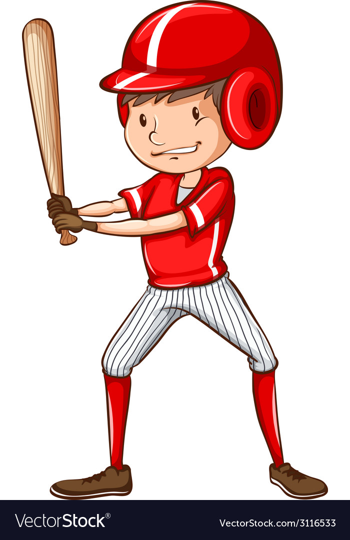 A sketch of a baseball player holding a bat vector | Price: 1 Credit (USD $1)
