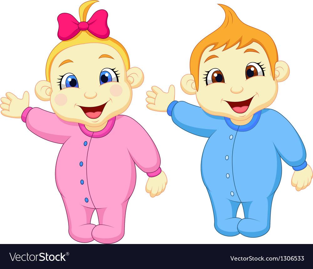 Baby boy and girl cartoon waving hand vector | Price: 1 Credit (USD $1)