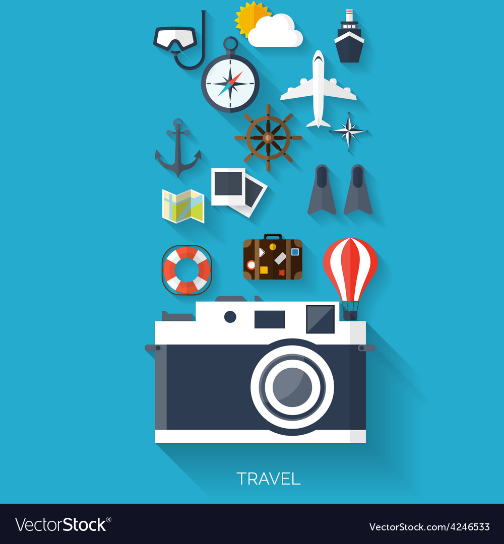 Camera flat icon world travel concept background vector | Price: 1 Credit (USD $1)