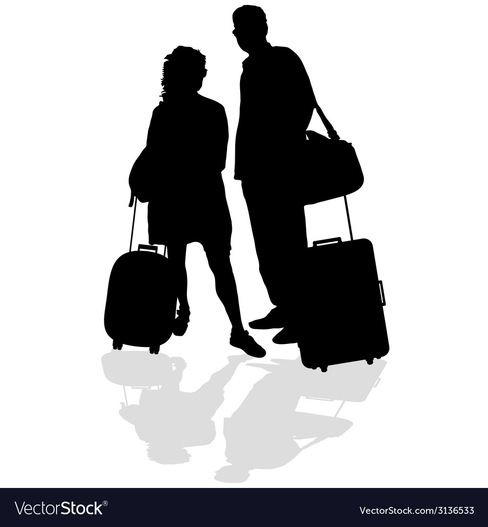 Couple with a suitcase vector | Price: 1 Credit (USD $1)