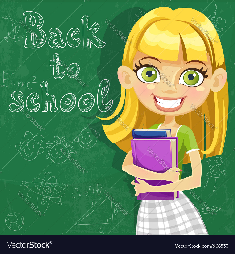 Cute teenager girl at the board ready to learn vector | Price: 3 Credit (USD $3)