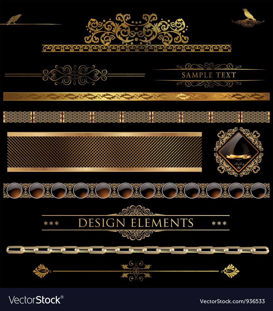 Design golden elements vector | Price: 3 Credit (USD $3)