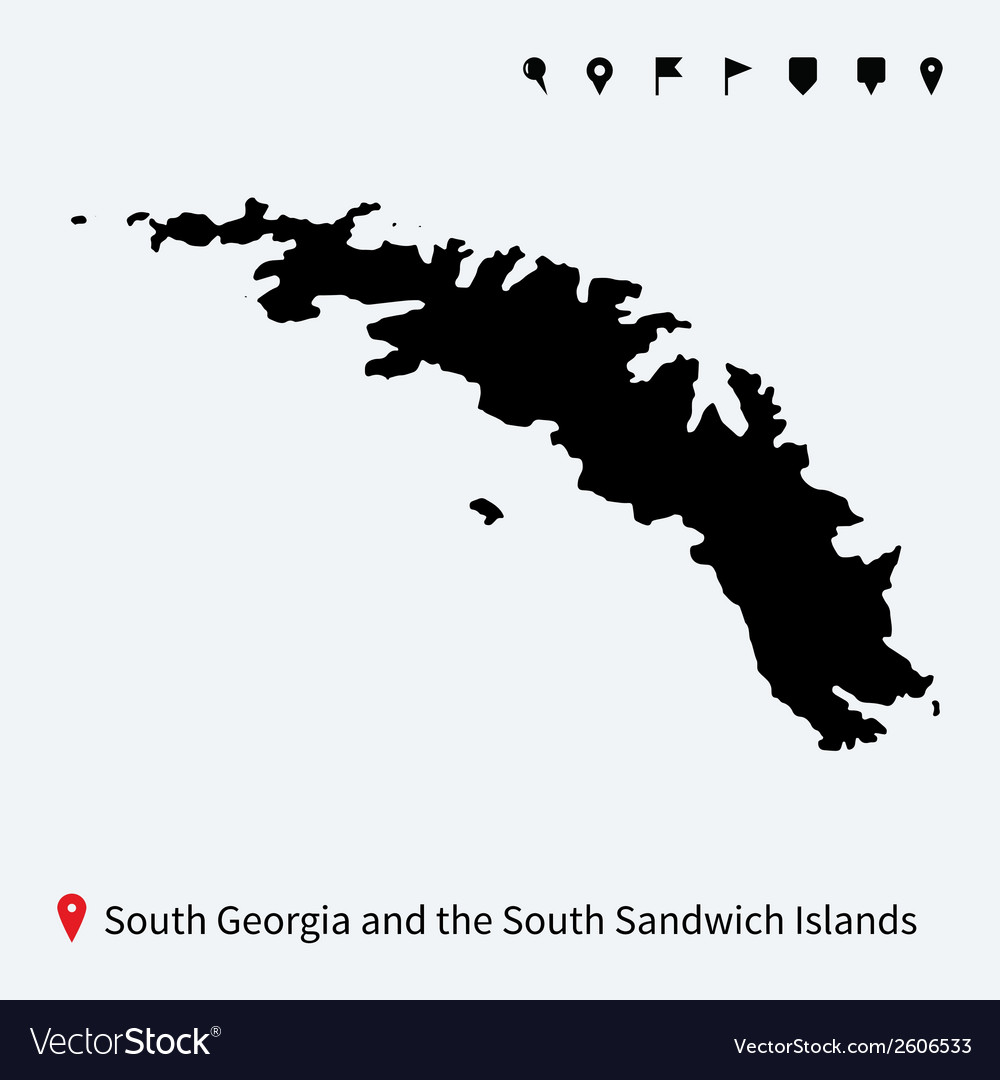 Detailed map of south georgia and sandwich islands vector | Price: 1 Credit (USD $1)