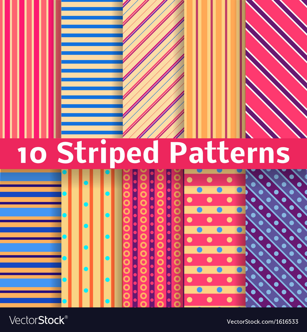 Different striped seamless patterns tiling vector | Price: 1 Credit (USD $1)