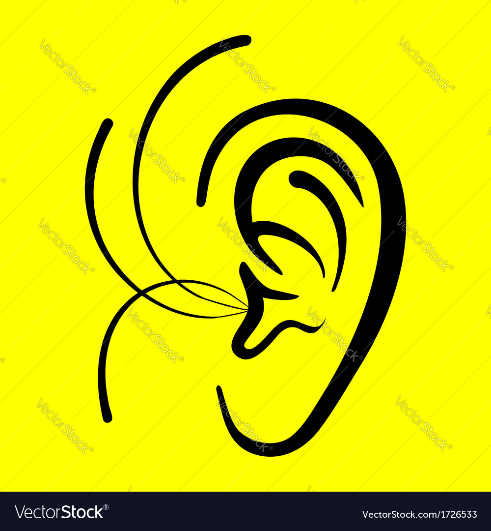 Ear on a yellow background vector | Price: 1 Credit (USD $1)