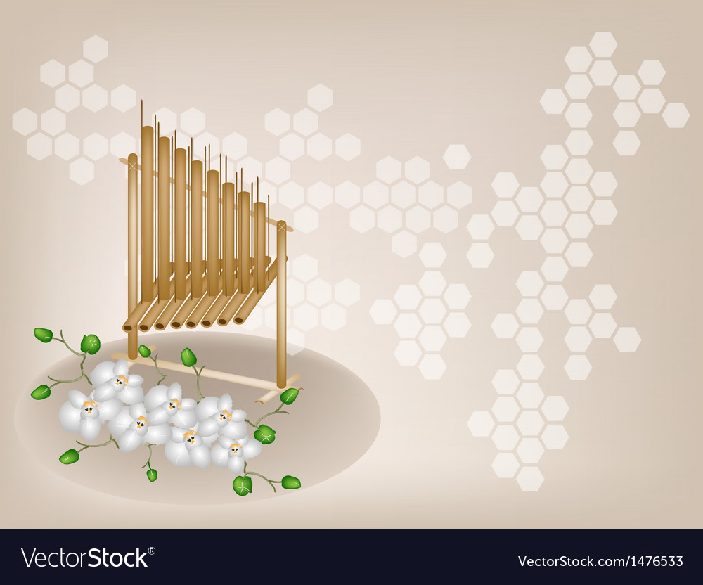 Musical angklung orchid background vector | Price: 1 Credit (USD $1)