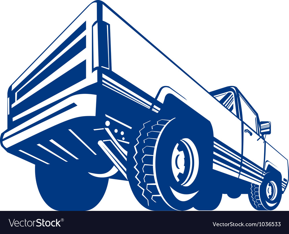 Pickup truck rear retro vector | Price: 1 Credit (USD $1)