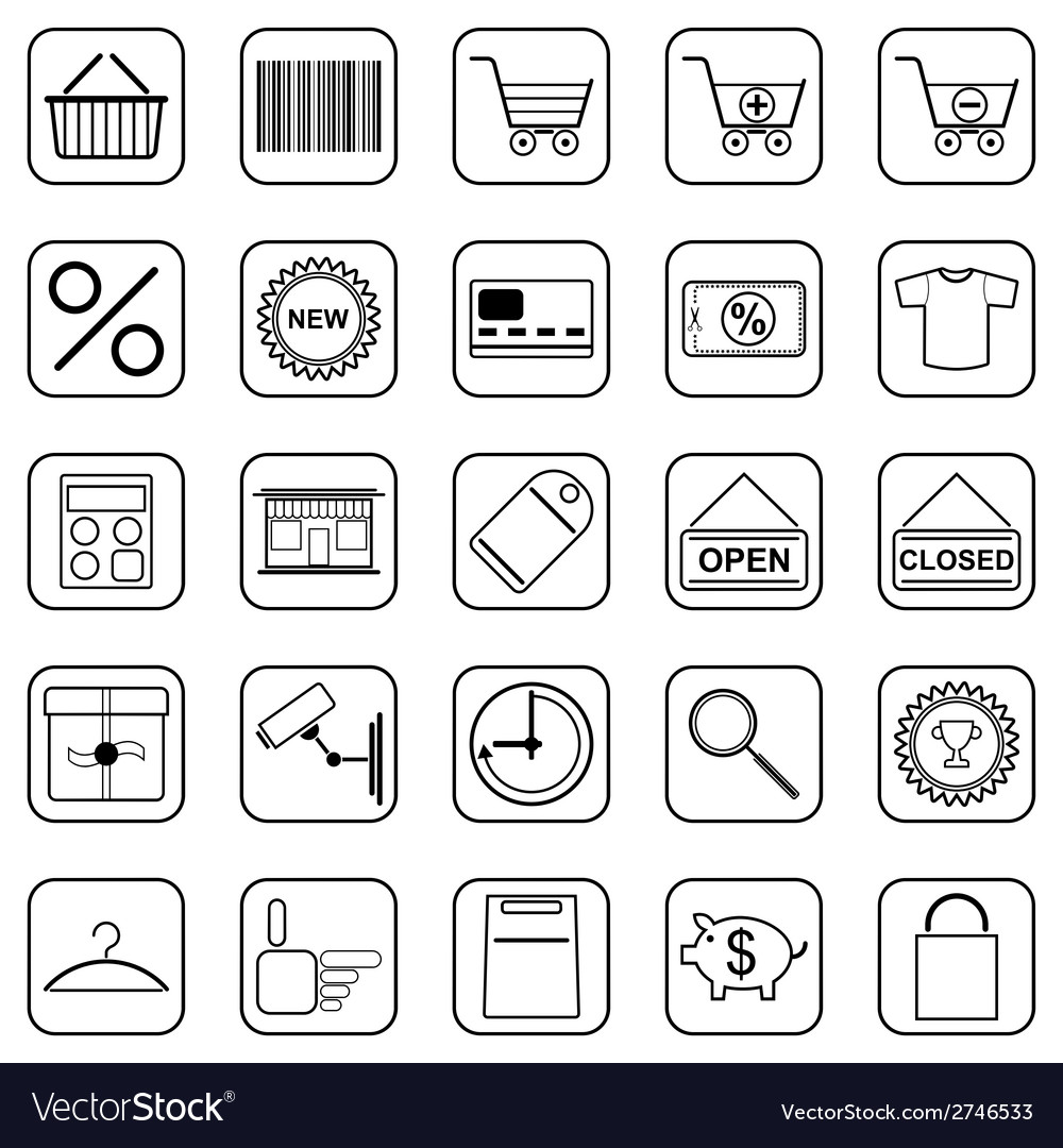 Shopping contour icons vector | Price: 1 Credit (USD $1)
