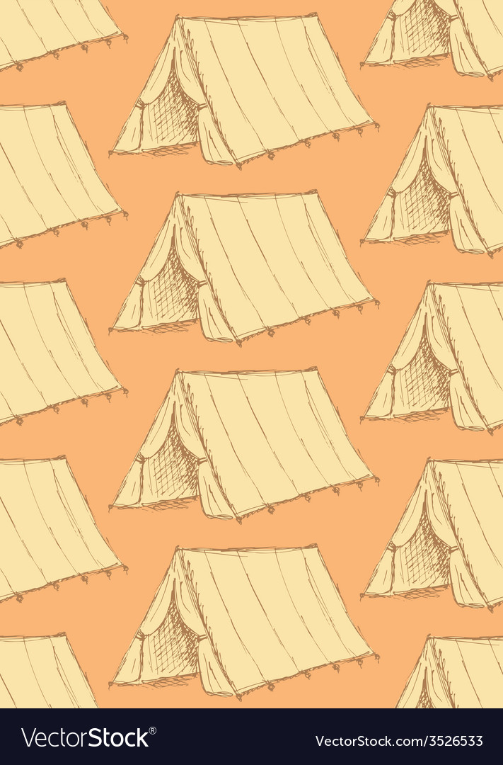 Sketch touristic tent in vintage style vector | Price: 1 Credit (USD $1)