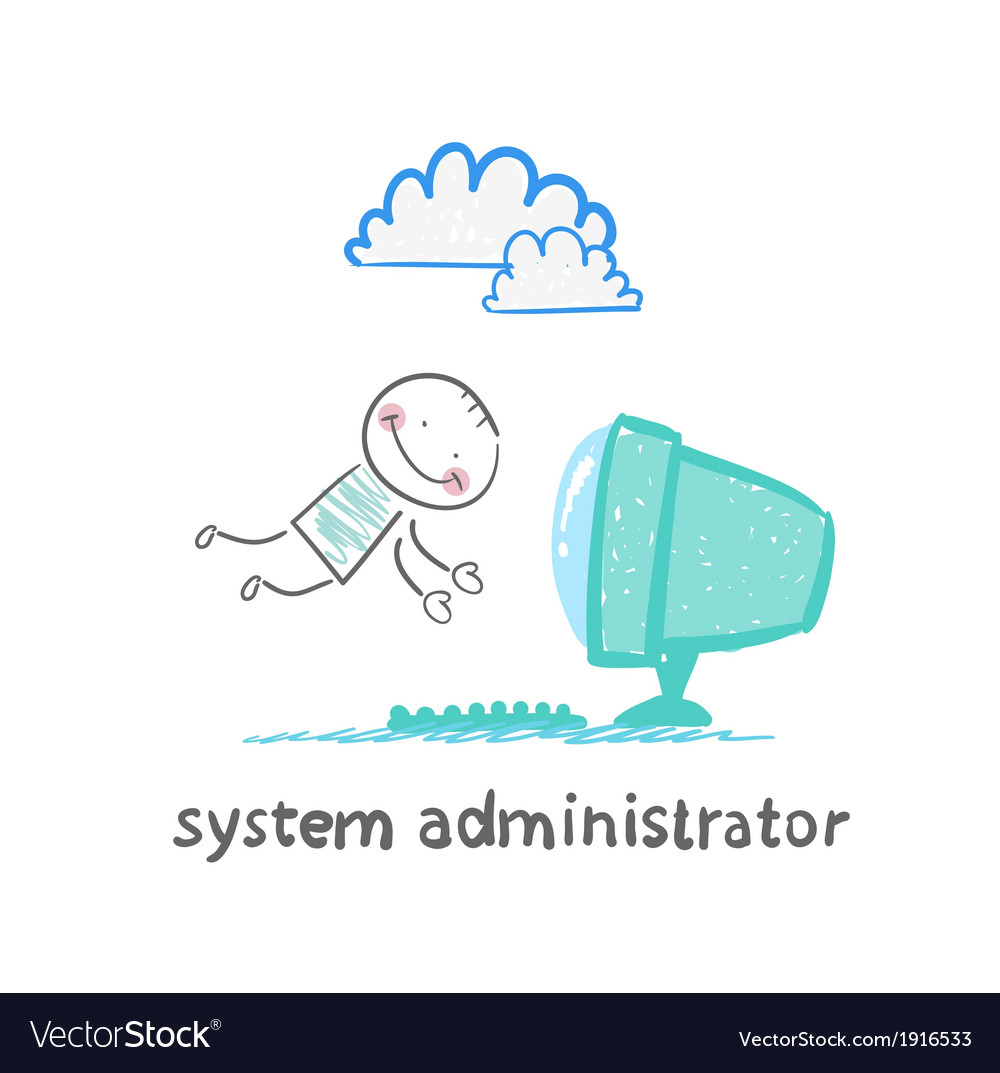 System administrator to the computer flies vector | Price: 1 Credit (USD $1)