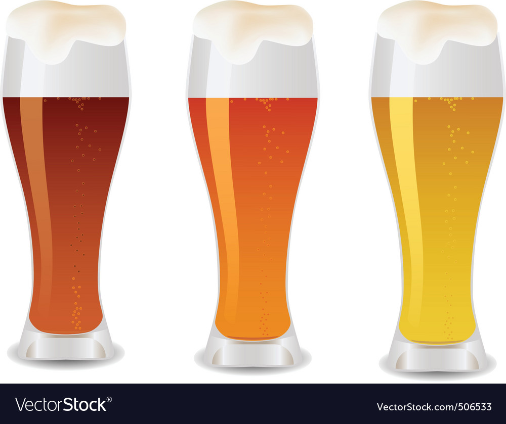 Three glass with beer vector | Price: 1 Credit (USD $1)