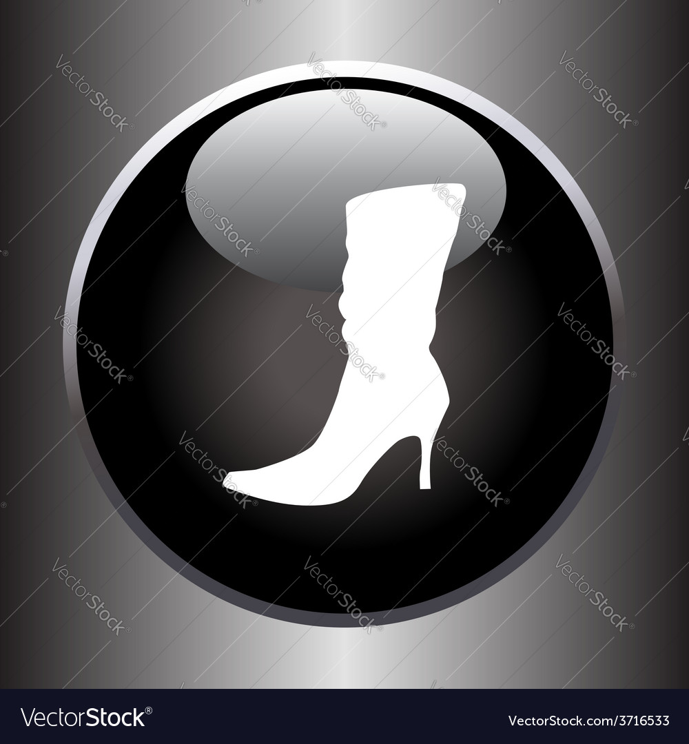Women winter boot flat icon on black button vector | Price: 1 Credit (USD $1)