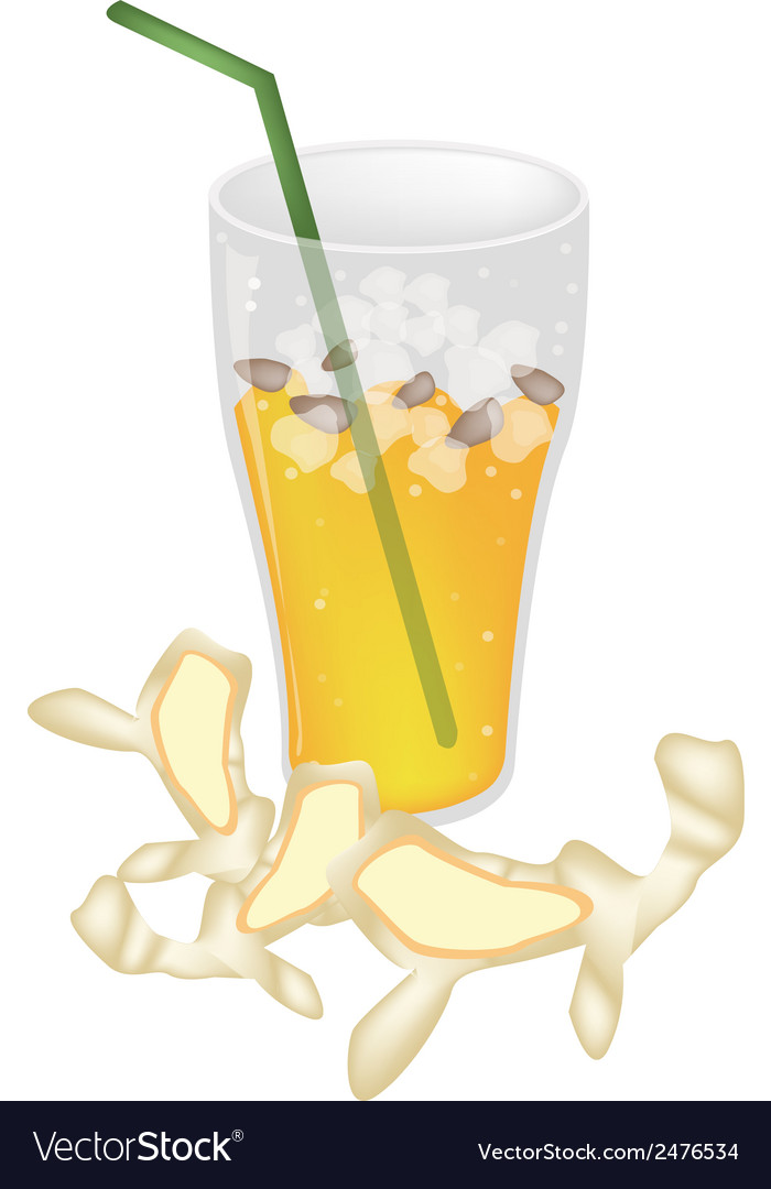 A glass of ginger tea with ice cube vector | Price: 1 Credit (USD $1)