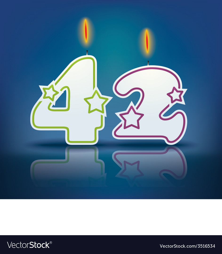 Birthday candle number 42 vector | Price: 1 Credit (USD $1)