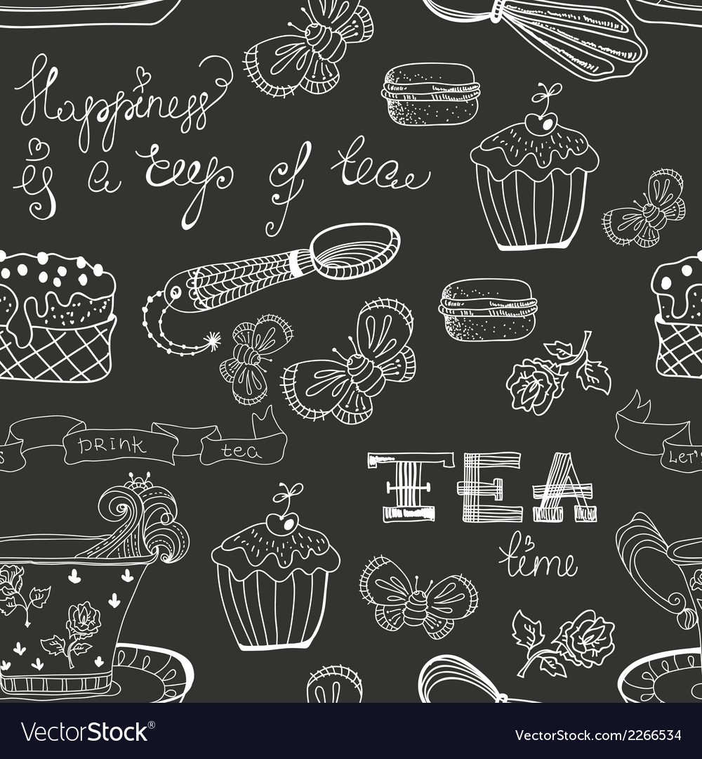 Black and white tea time pattern vector | Price: 1 Credit (USD $1)