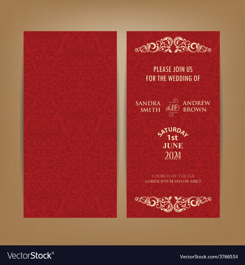 Double invitation card red vector