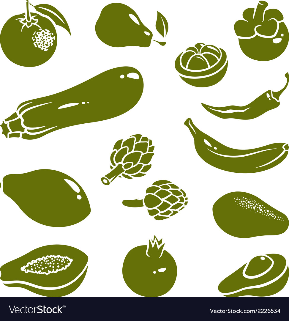 Fruits vegetables silhouettes 2 vector | Price: 1 Credit (USD $1)