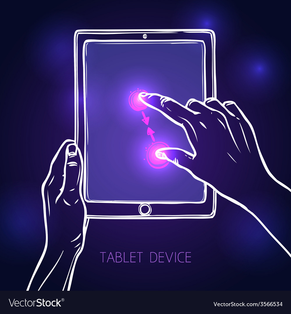 Hand hold tablet vector | Price: 1 Credit (USD $1)