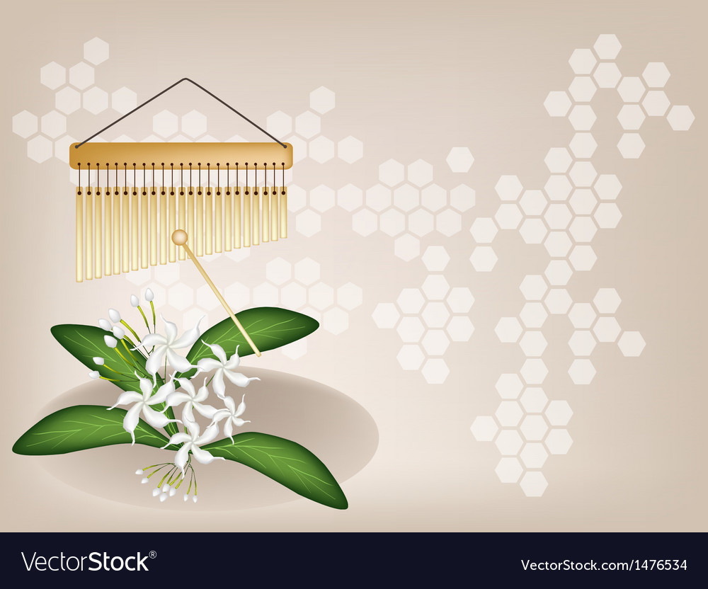 Musical chimes jasmine background vector | Price: 1 Credit (USD $1)