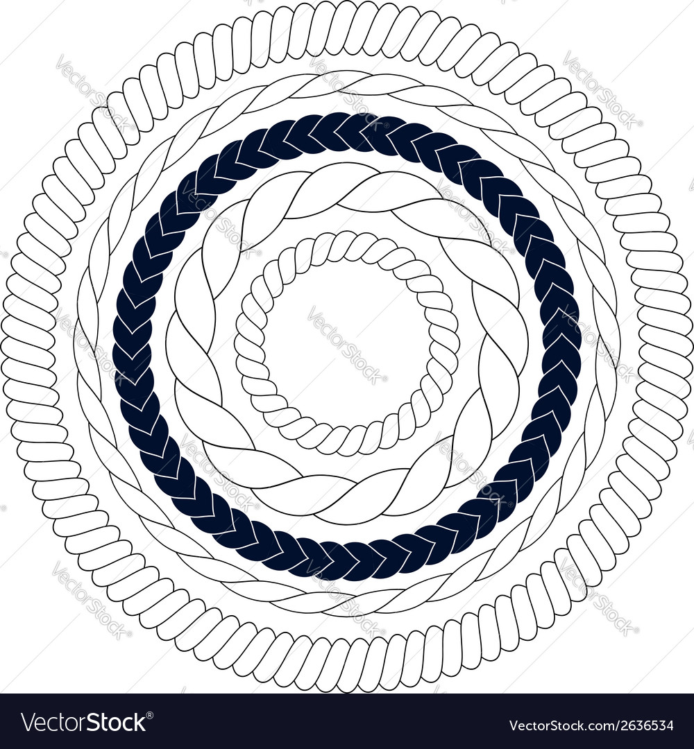 Round rope elements frames borders vector | Price: 1 Credit (USD $1)