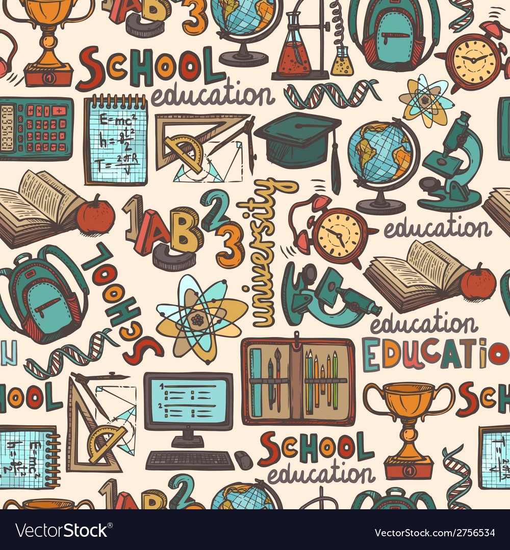 School education seamless pattern vector | Price: 1 Credit (USD $1)