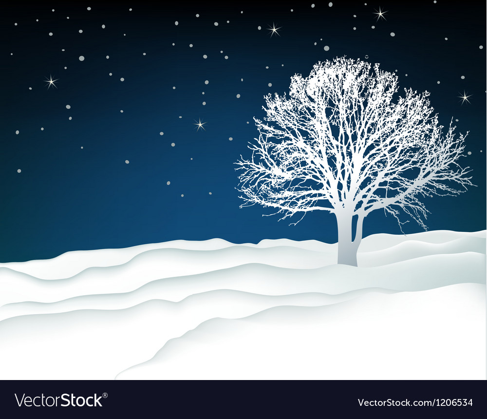 Winter lonely tree vector | Price: 1 Credit (USD $1)